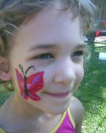 My beautiful daughter Yasmine had her face painted with a butterfly at her fairy birthday party