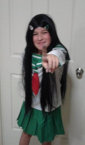 My beautiful daughter Annelise dressed in cosplay as Kagome from the anime Inuyasha