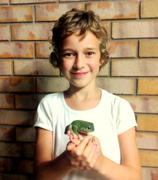 My beautiful daughter Annelise with a green frog