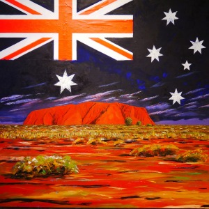 Acrylic Painting Australian flag over uluru by PeterKraayvanger - Free Creative Commons Public Domain Image from Pixabay