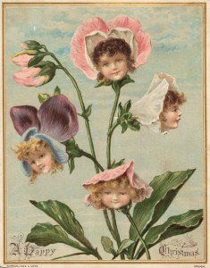 A Happy Christmas Infant Flowers Victorian Xmas Card