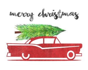 Vintage Sign Old Car with Christmas Tree 700px