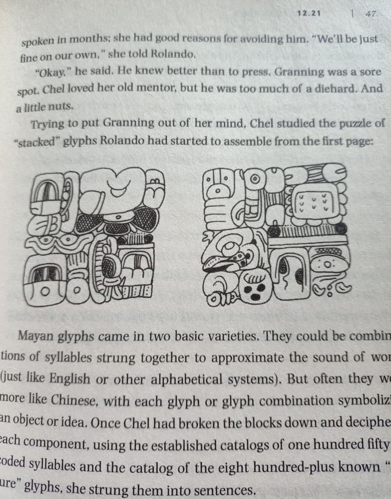 Mayan glyphs, 12-21 by Dustin Thomason, page 47.