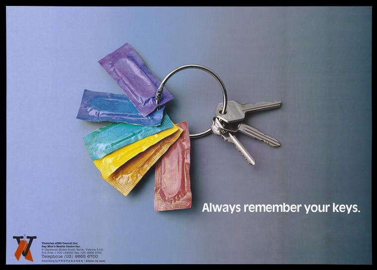 Credit: A bunch of keys and coloured packs of condoms on a key ring representing a reminder to practice safe sex; advertisement by the Victorian AIDS Council and Gay Men's Health Centre. Colour lithograph by Propaganda. Wellcome Collection. Attribution-NonCommercial 4.0 International (CC BY-NC 4.0)